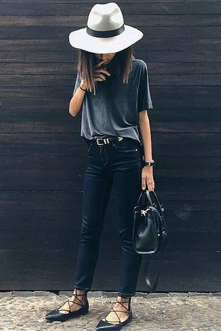 sneakers and pearl, street style, minimalistic style, black jeans with black aquazzura flats and grey tee, trending now.jpg