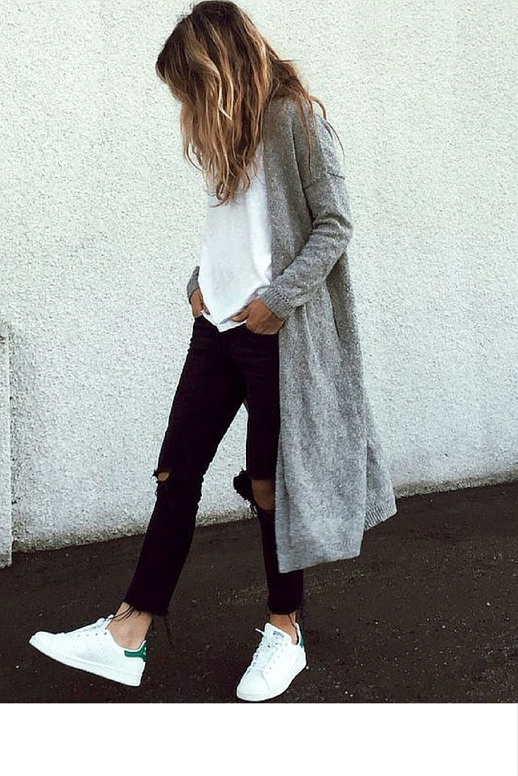 sneakers and pearl, street style, minimalistic style, black jeans with white stan smiths and white tee under a grey cardigan, trending now..jpg