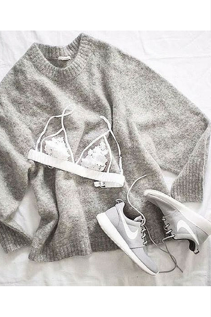 sneakers and pearl, street style, minimalistic style, oversized grey jumper with nike sneakers for a sporty look, trending now..jpg