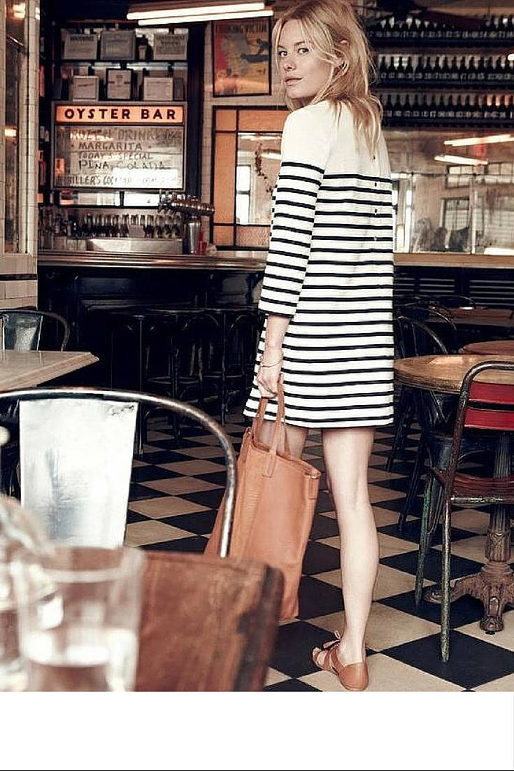sneakers and pearl, street style, minimalistic style, stripy dress with tan flat sandals, trending now..jpg
