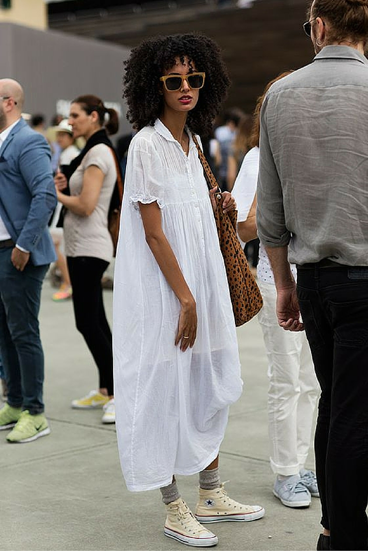 sneakers and pearl, street style, minimalistic style, white long shirt dress with all stars showing oof the socks, trending now..jpg
