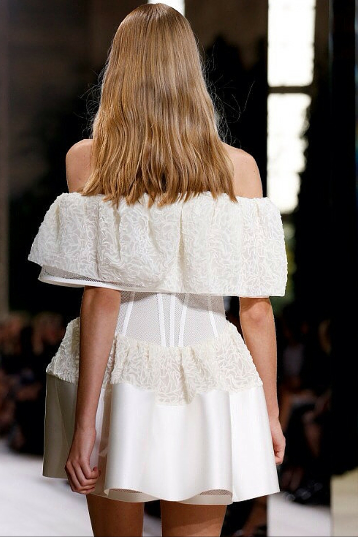 sneakers and pearls, runway show, off the shoulder white dress with lace, dress for a formal, trendning now.jpg