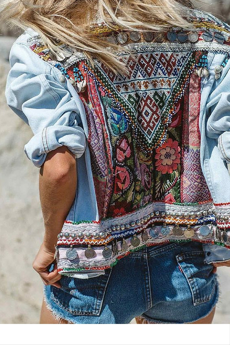 sneakers and pearls, beach style summer lovers, denim shorts with denim jacket with ethnic embroidery, trending now.jpg