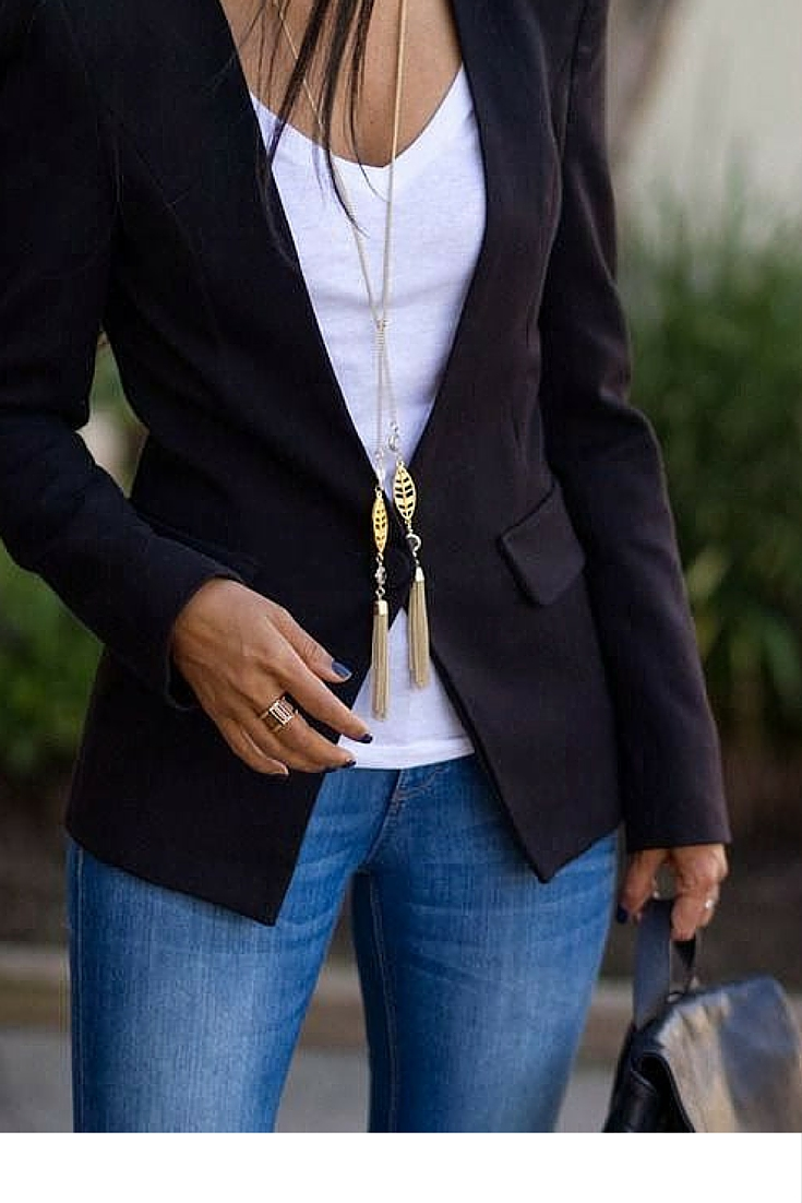 sneakers and pearls, office wear, street style, black blazer with a white tee and denim pants, trending now.jpg
