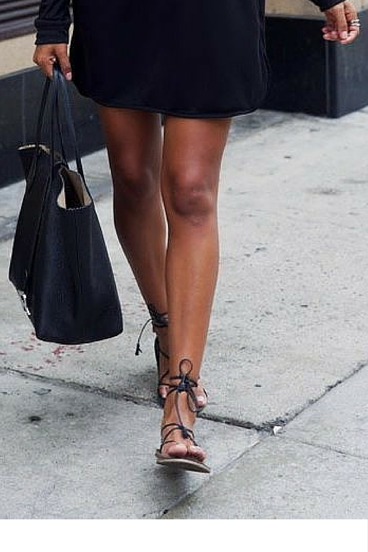 sneakers and pearls, office wear, street style, black shift dress, black stripy sandals, black tote, trending now.jpg