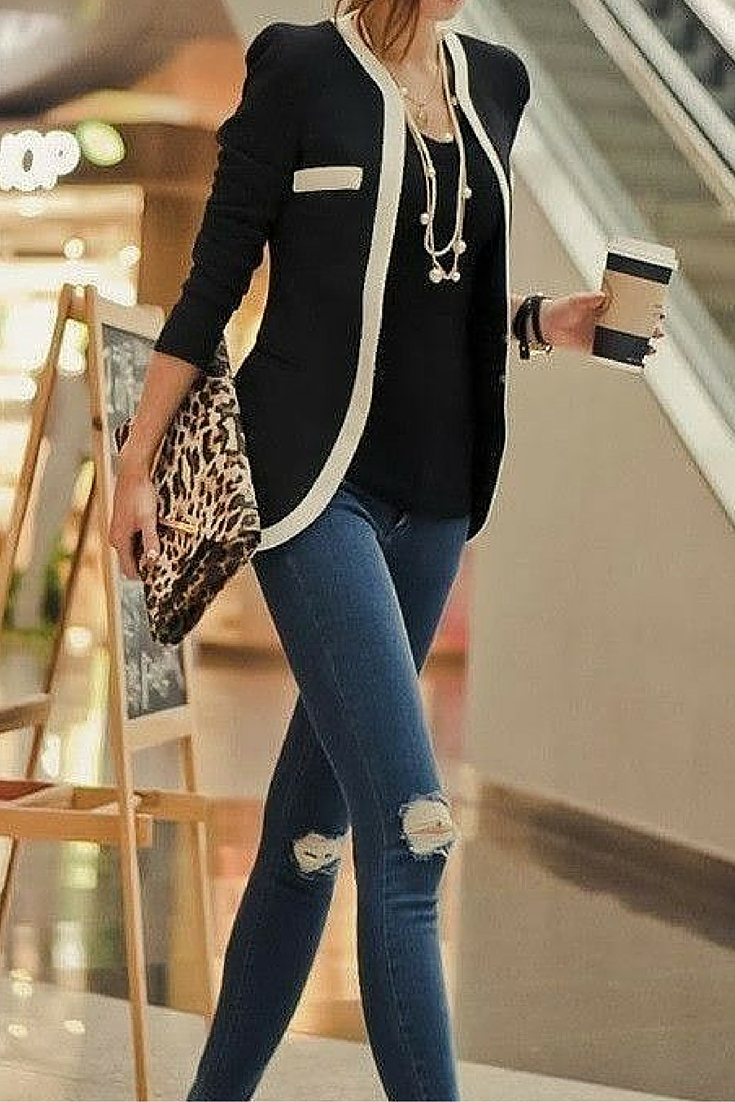 sneakers and pearls, office wear, street style, black tee with pearls and a Coco looking blazer with a touch of leopard print, trending now.jpg