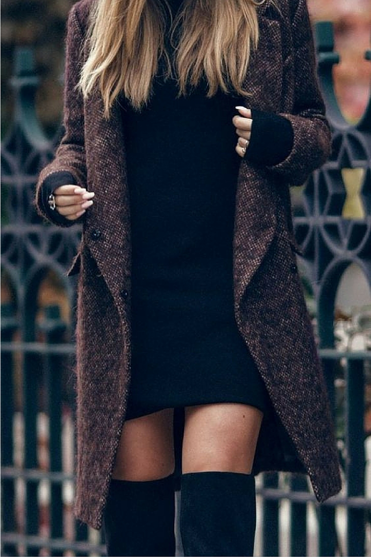 sneakers and pearls, street style, wear a black knit dress under a coat with knee high boots, trending now.jpg