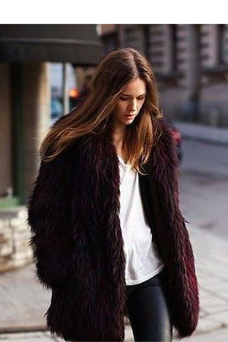 sneakers and pearls, street style, wear black leather pants with a white tee and a fur coat, trending now.jpg