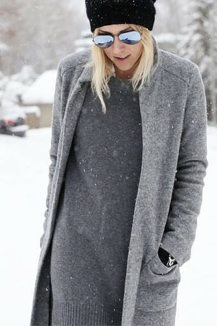 sneakers and pearls, new york city, snow, winter, street style, grey coat with a black beanie and mirrored aviators, always trending.jpg