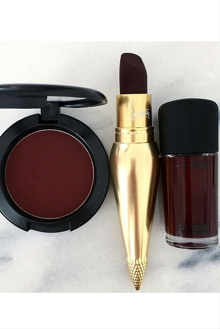 sneakers and pearls, burgundy eyshadow, burgundy nail lacquer, nail polish, Mac, christian louboutin make up, burgundy lipstick, trending now.jpg