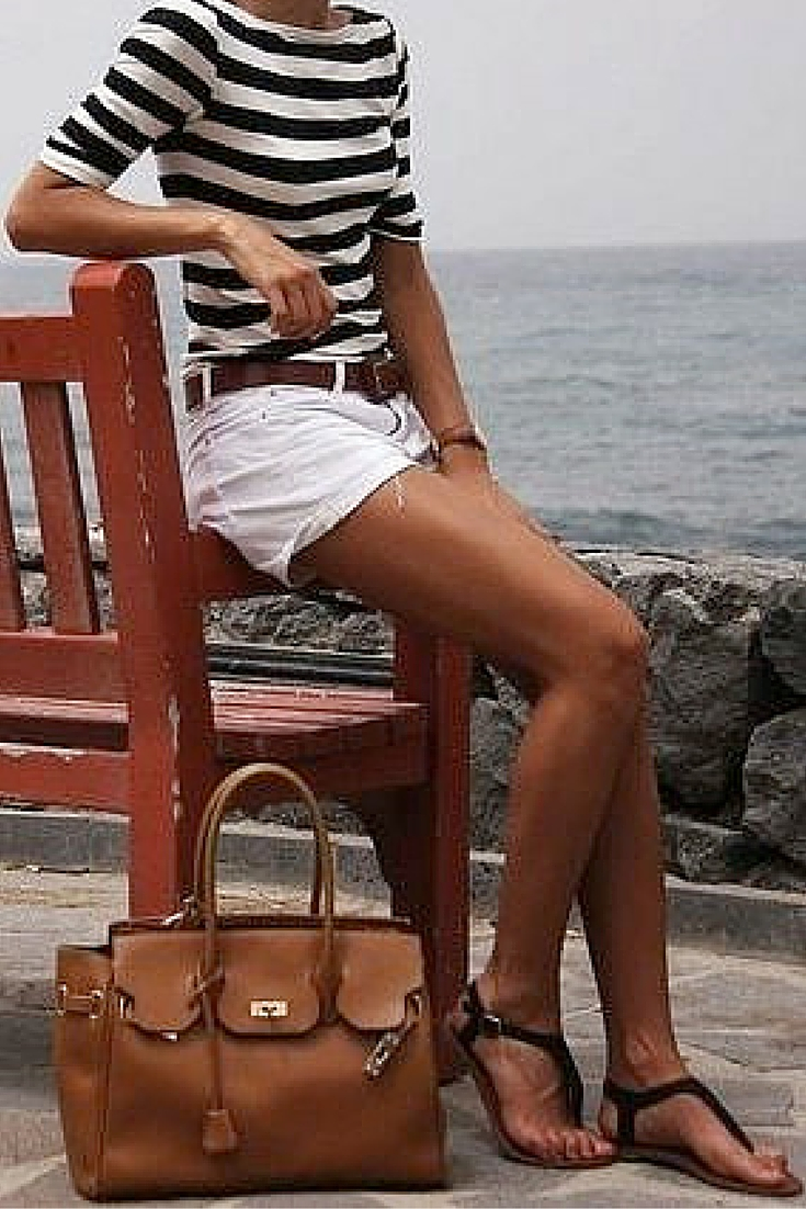 sneakers and pearls, summer life, stripy top with white shorts and black sandals, tan leather tote, boat life, trending now.jpg