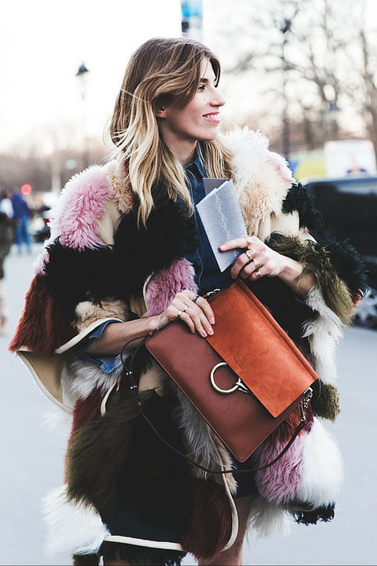 sneakers and pearls, street style, patchwork coat with a denim jacket and a mini skirt, chloe handbag in dark red and orange, trending now.jpg