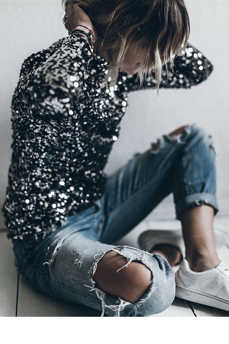 sneakers and pearls, street style, ripped denim pants with a sequined top and white sneakers, trending now.jpg