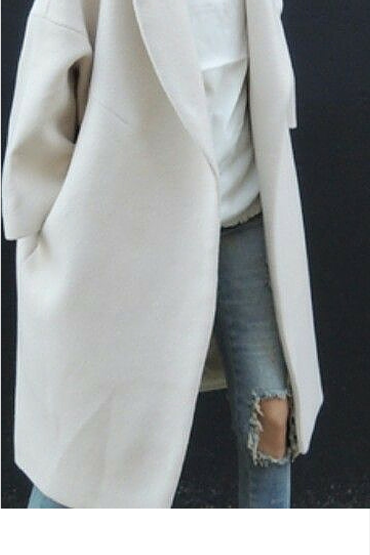 sneakers and pearls, street style, denim knee ripped pants with a white tee and a long coat, trending now.jpg
