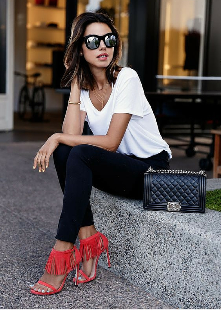 sneakers and pearls, natural make up, jred heeled sandals, chanel bag, wear black pants with a white tee,always trending.jpg