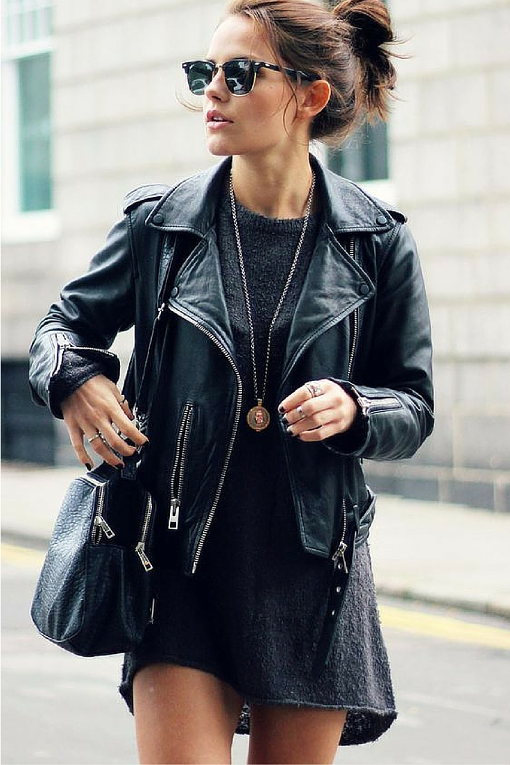 sneakers and pearls, natural make up, street style, black leather jacket over a fleece dress,always trending.jpg