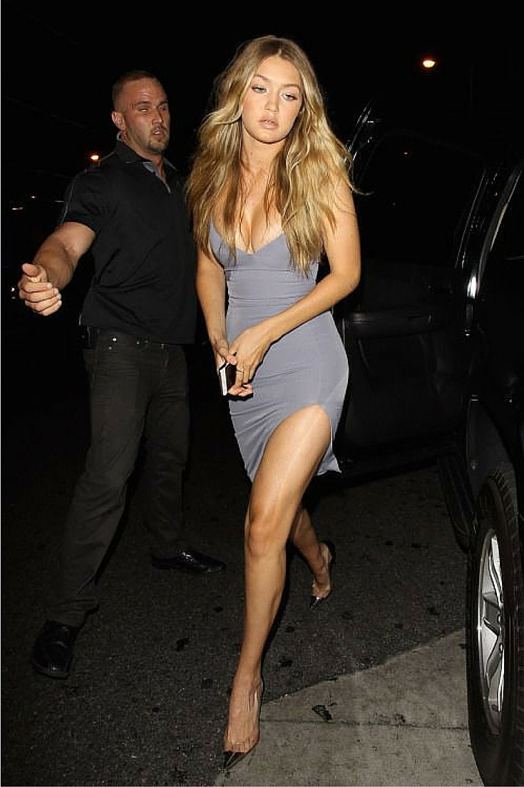 sneakers and pearls, a night out, Saturday night, grey fitted dress, Gigi hadid, trending now.jpg