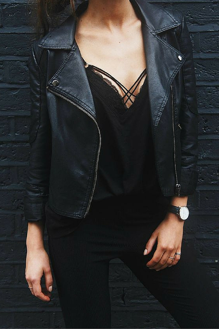 sneakers and pearls, a night out, Saturday night, total black, black leather jacket, trending now.jpg