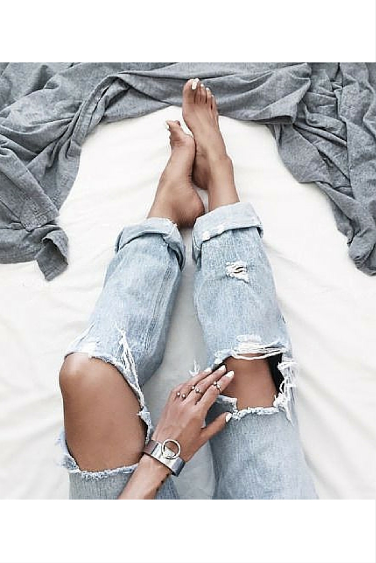 sneakers and pearls, lazy days, knee ripped jeans, white nail polish is trending now.jpg