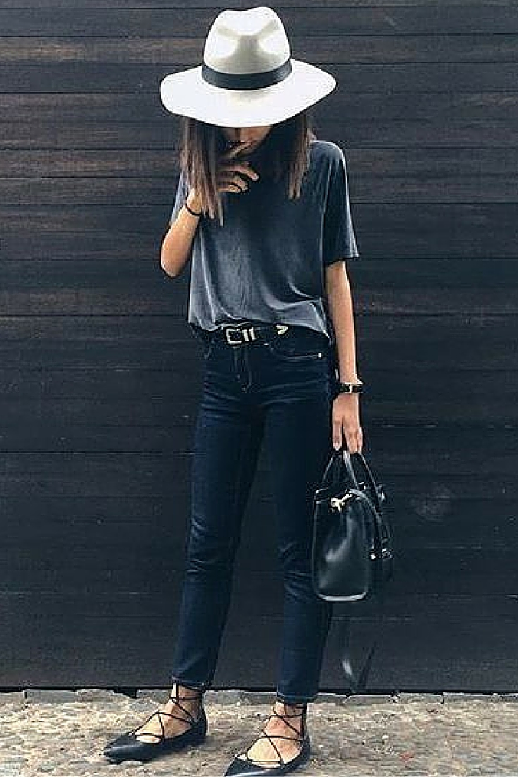 sneakers and pearls, street style, black pants with a grey tee and a felt hat, trending now.jpg