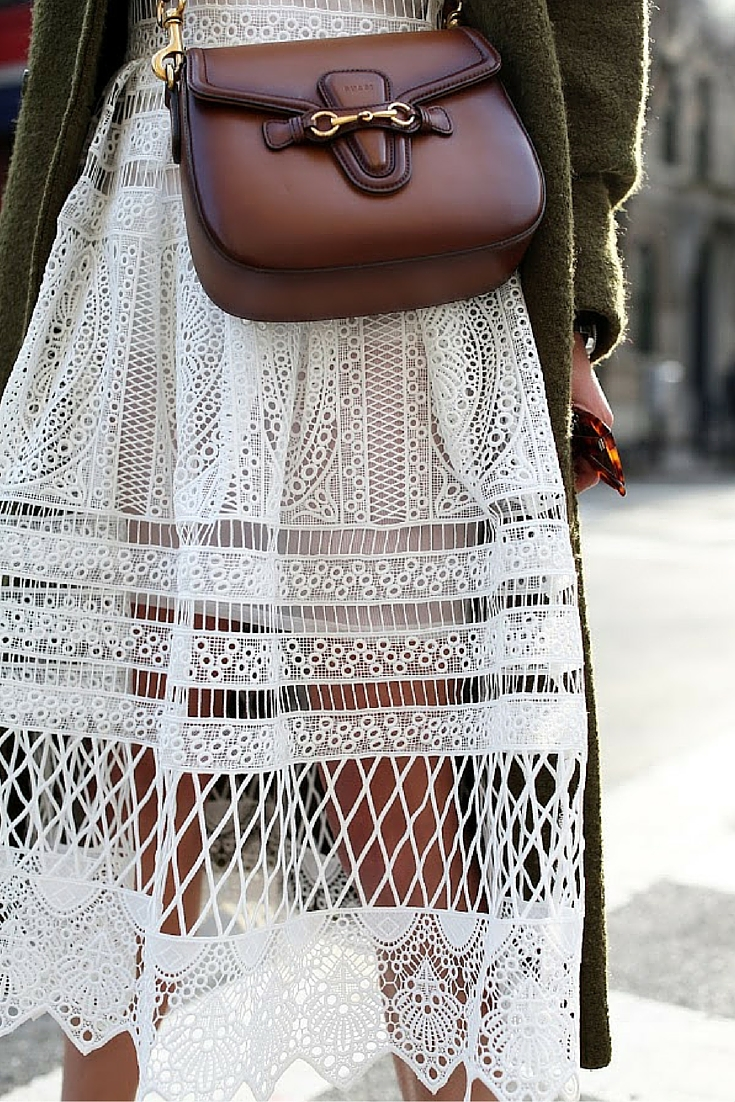 sneakers and pearls, street style, office wear, white lace cut dress with a long cardigan and a brown eather shoulder bag, trending now.jpg
