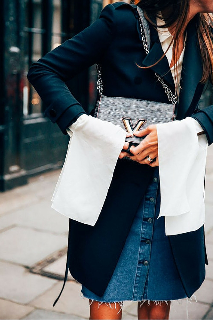 sneakers and pearls, street style, denim skirt with a cool cotton shirt and a black coat over the knee, louis vuitton handbag, trending now.jpg