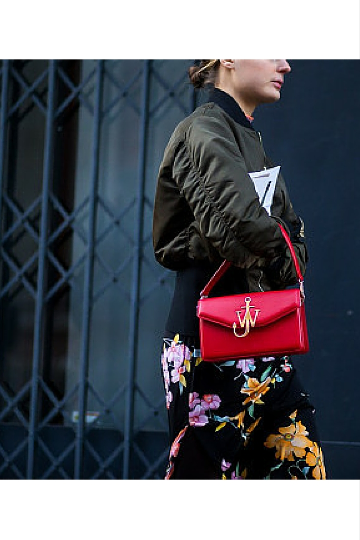 sneakers and pearls, street style, floral pencil skirt with an aviator khaki jacket, red Jason wu bag, trending now.jpg