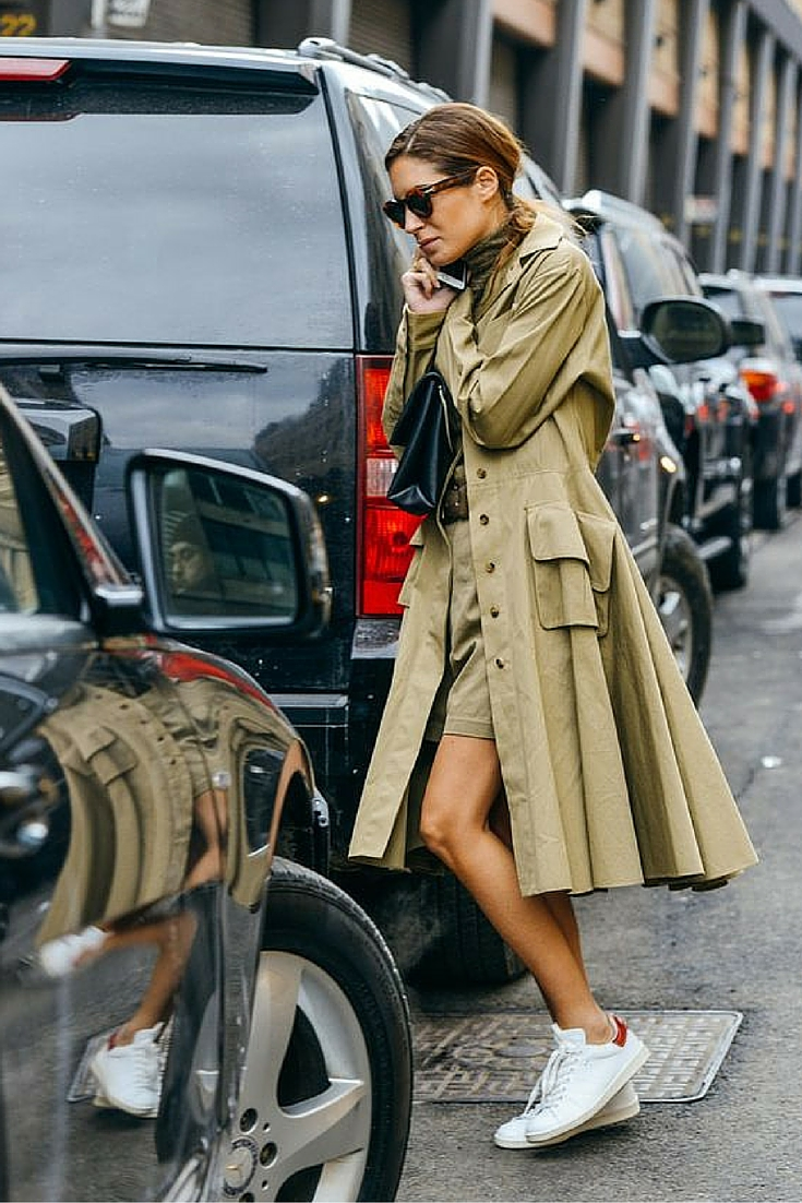 sneakers and pearls, street style, total khaki ensemble with stan smith sneakers, trending now.jpg