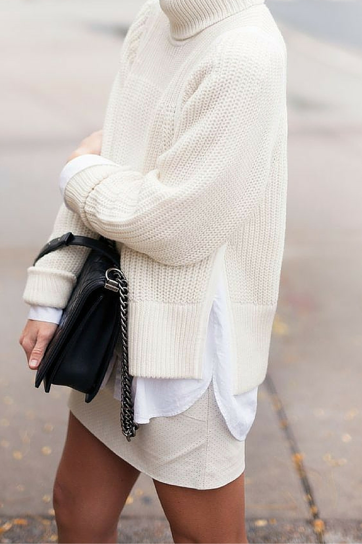sneakers and pearls, street style, pair a skirt with a chunky knit, black chanel bag, trending now..jpg