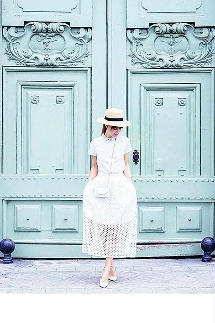 sneakers and pearls, street style, pair a skirt with a shirt and a straw hat, white small cross over bag, trending now.jpg