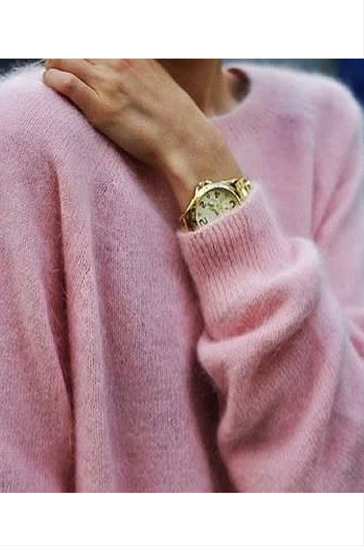 sneakers and pearls, street style, pink knit, gold watch, trending now.jpg