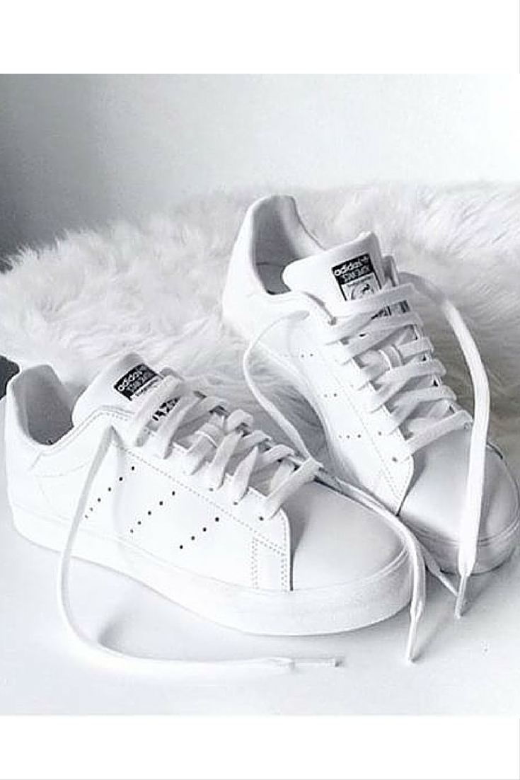 sneakers and pearls, white Stan Smith, trending now..jpg