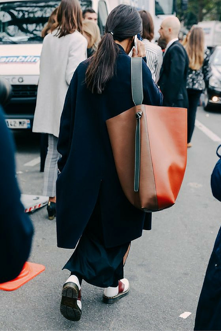 sneakers and pearls, street style new york fashion week, celine handbags, fancy brogues, trending now.jpg