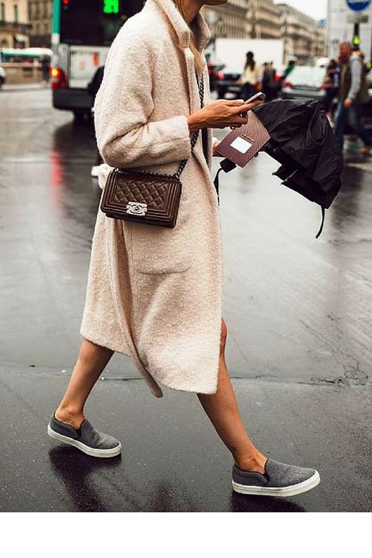 sneakers and pearls, soft tones, street style, brown Chanel boy bag, always trending.jpg