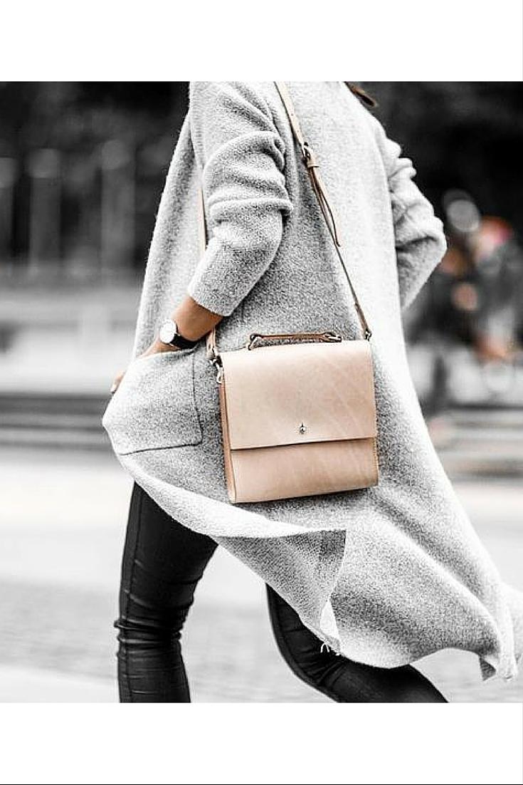sneakers and pearls, soft tones, street style,grey long coat, black leather pants, always trending.jpg