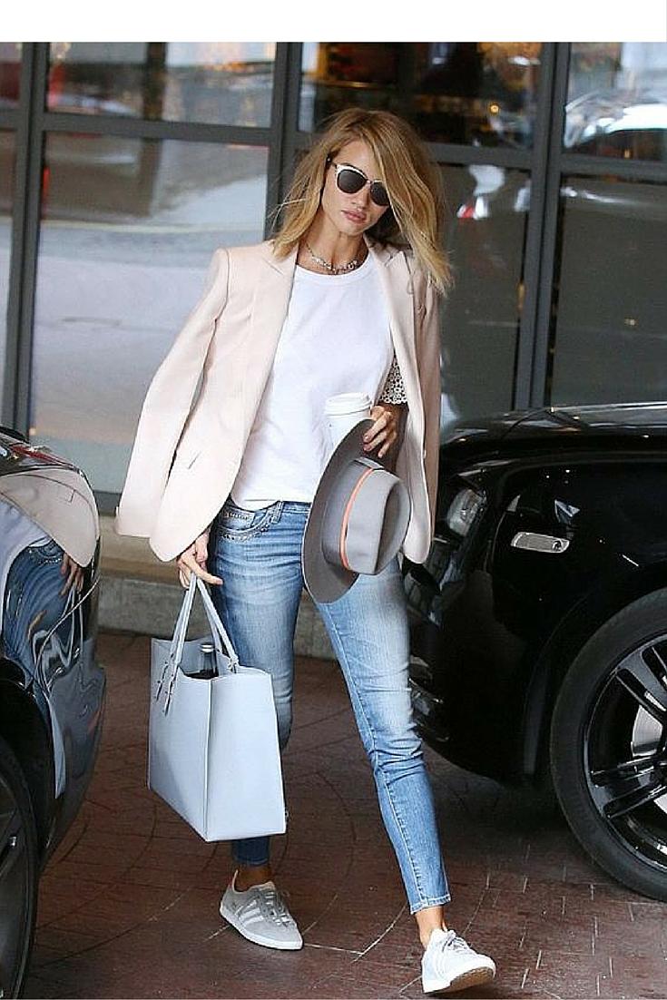 sneakers and pearls, street style, Rosie Huntington, prada sunglasses, grey adidas sneakers,white tee with a blazer, always trending.jpg