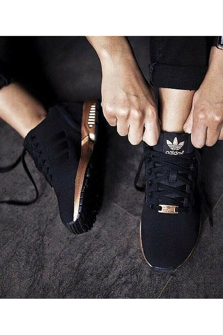 sneakers and pearls, street style, black Adidas ZX flux sneakers with copper sole, trending now.jpg