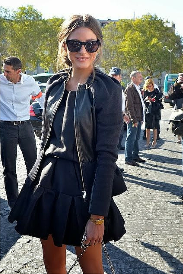 sneakers and pearls, street style, black leather jacket over a  black  dress, Olivia Palermo trending now..jpg