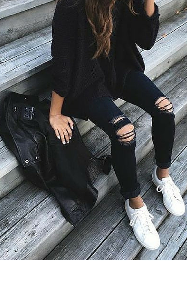 sneakers and pearls, street style, black leather jacket over black knee ripped jeans worn with military boots, trending now.jpg