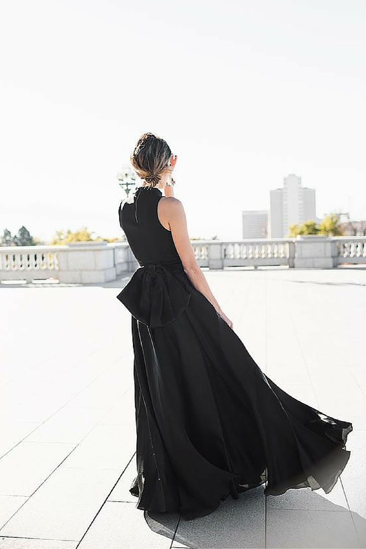 sneakers and pearls, black gown, the bow at the back of a dress makes it look sexy, always trending.jpg