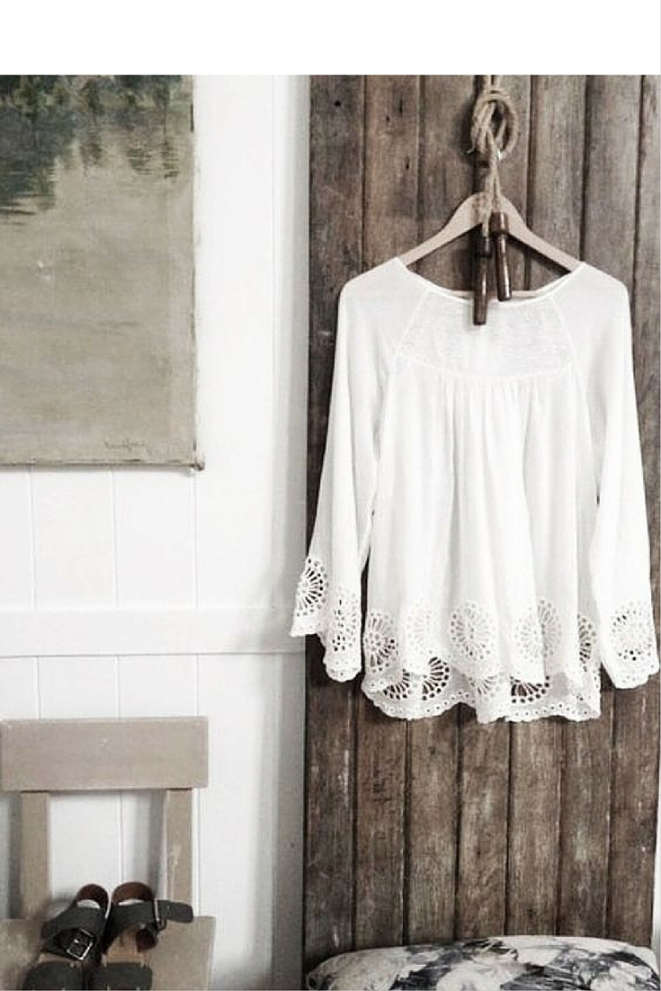 sneakers and pearls, beach boho style, white top with embroidery on the sleeves, trending now.jpg