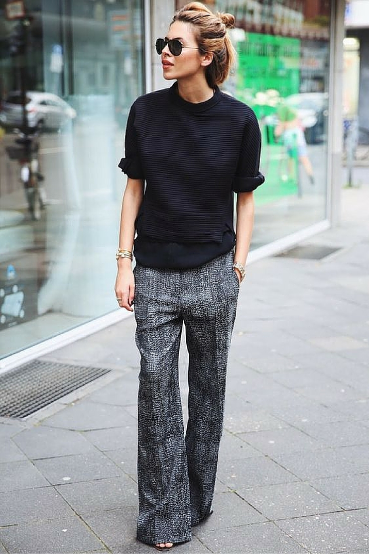 sneakers and pearls, street style, wear a black knit over a pair of wide leg pants, trending now.jpg