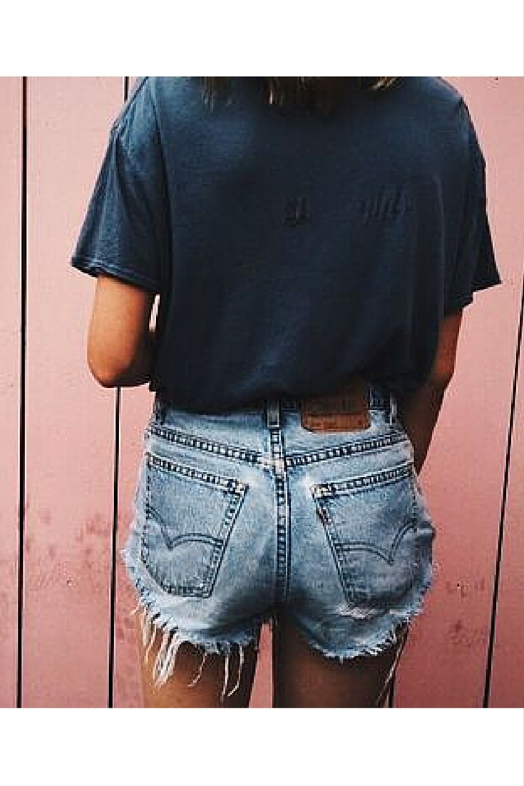 sneakers and pearls, levi's cut offs, cut your old high waist denim pants to use as shorts, team them up with a navy tee, trending now.jpg