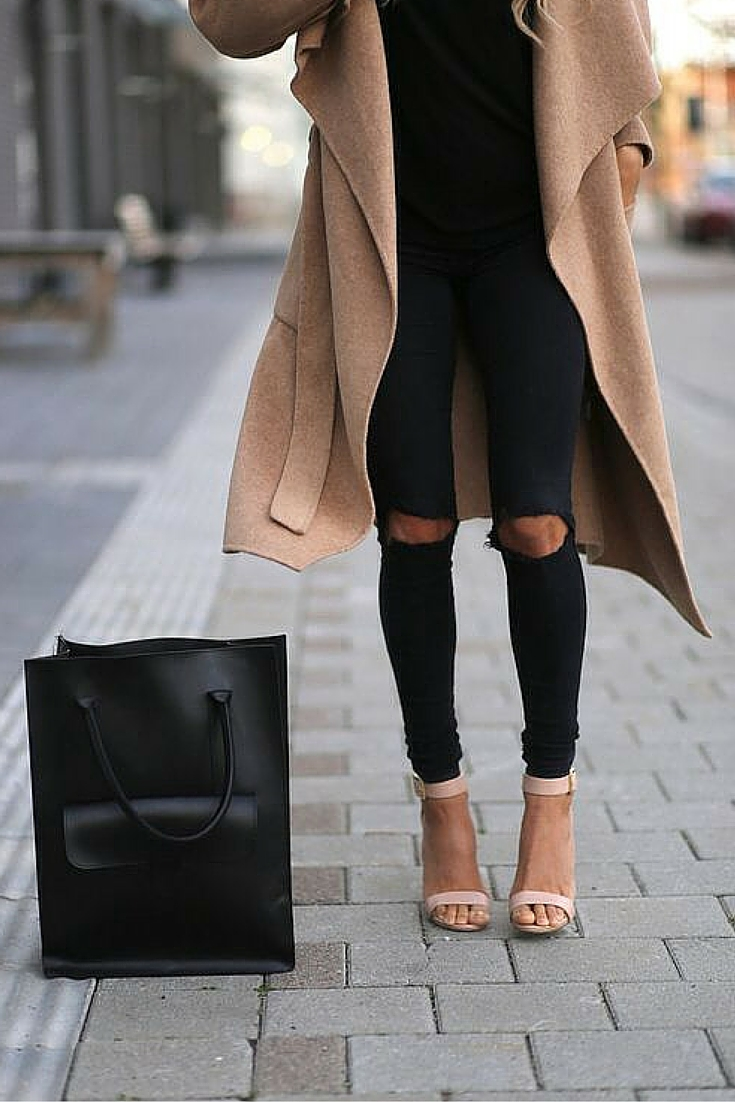 sneakers and pearls, street style, knee ripped black pants, nude heels, camel coat, trending now.jpg