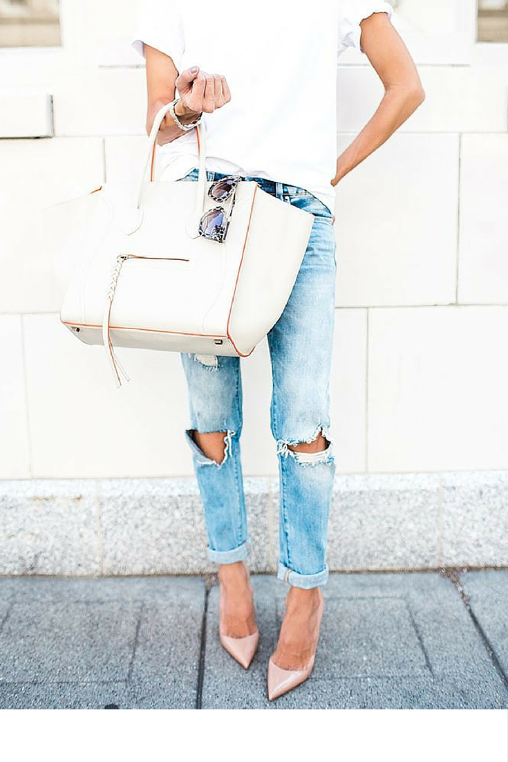 sneakers and pearls, street style, celine bag, ripped jeans with a cotton tee, nude pumps, trending now.jpg