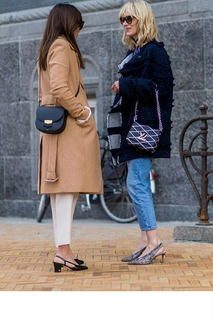 sneakers and pearls, street style, sling back shoes are in for the season, girls squad, camel coat, celine and louis vuitton nandbags, trending now.jpg