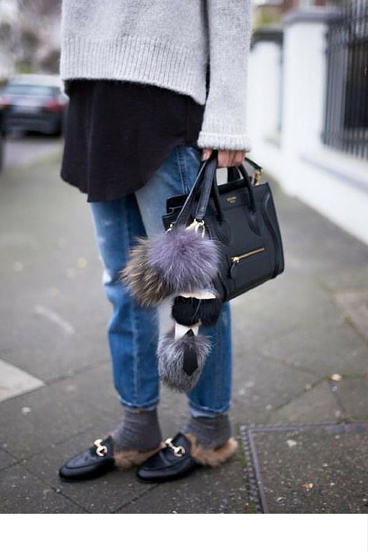 sneakers and pearls, street style, wear your mules with socks, celine handbag, fluffy pom poms, karl lagerfeld, gucci mules, trending now.jpg