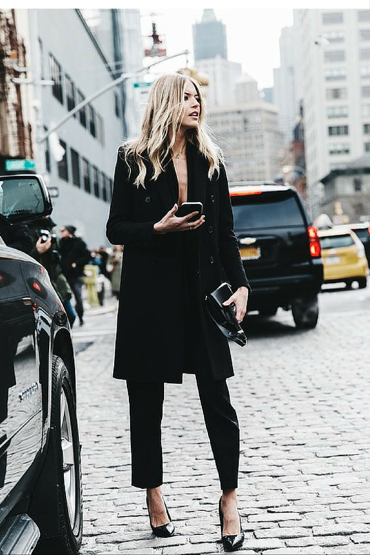 sneakers and pearls, street style total black look, ankle length pants with black heels, trending now.jpg