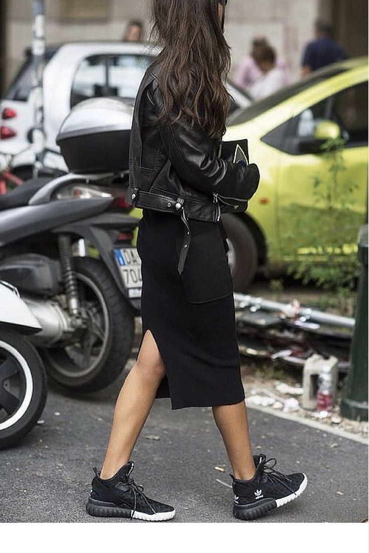 sneakers and pearls, street style, casual look,black fitted skirt with Adidas sneakers and a balck leather jacket, trending now.jpg