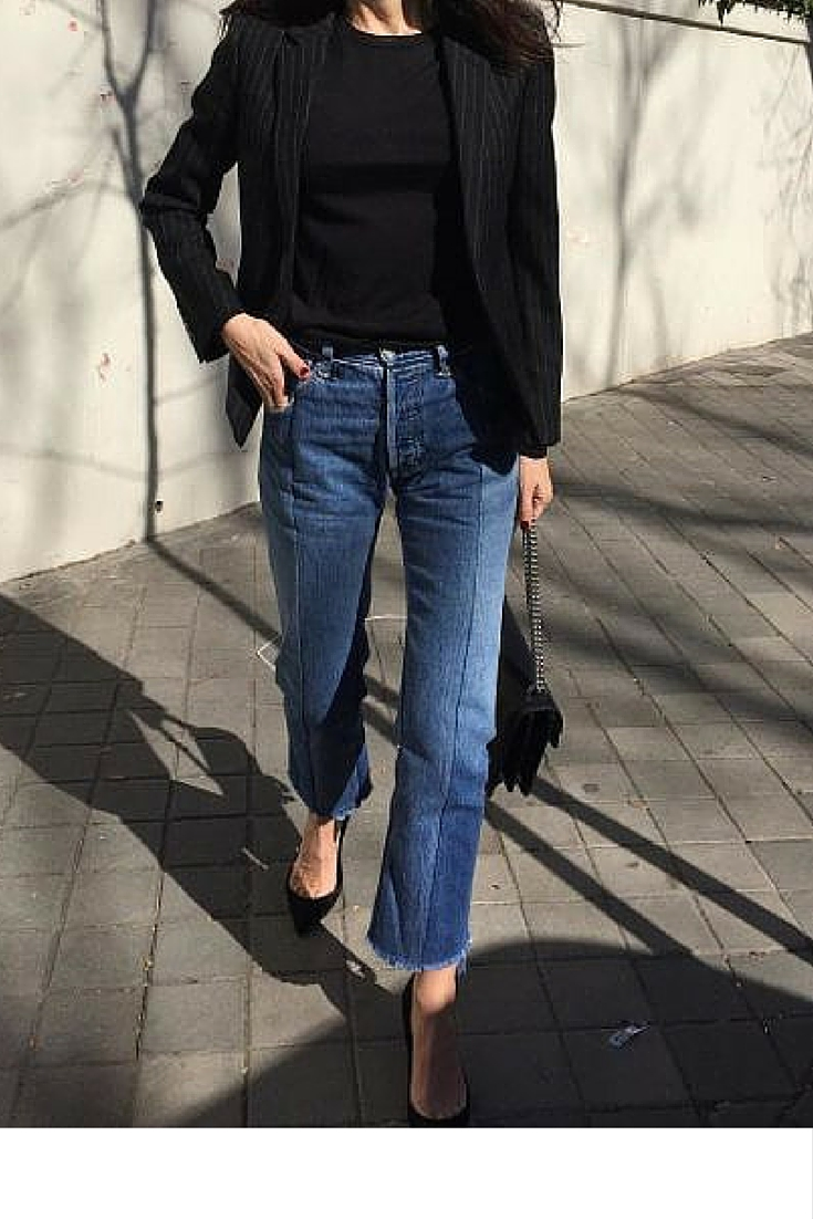 sneakers and pearls, street style, minimalistic style, grey coat, black pumps and black bag ready to go to the office, office wear, pinstriped blazer, trending now.jpg